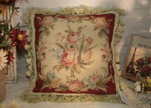 14-034-OLD-VINTAge-Country-Chic-Shabby-Handmade-Sofa-Needlepoint-Pillow-Cushion