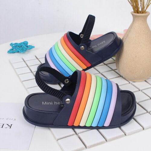 Toddler Kids Girls Boys Summer Rainbow Slippers Beach Slides Soft Shoes Sandals