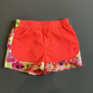 Champion-Youth-Girls-Athletic-Shorts-Size-M-Orange-Floral-Detail-Super-Cute-EUC