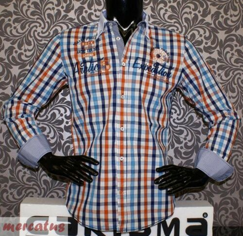Designer Hemd von CARISMA in Orange-Blau-Weiß kariert CRM8093 Brandneu !!