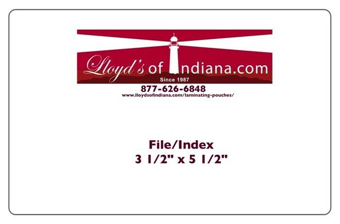 File Index Card Laminating Pouches 10 mil - 3 1 2  x 5 1 2  - 90mm x 140mm