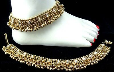 Fashion Jewelry 2pcs Anklet Payal White Kundan Gold Oxidized Antique Bridal Party Ramadhan Eid Limpid In Sight Jewelry & Watches