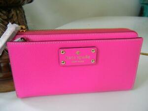 NWT-KATE-SPADE-WELLESLEY-SNAPDRAGON-PINK-LAYTON-LEATHER-CLUTCH-ORGANIZER-WALLET