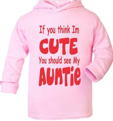 Think I/'m Cute See My Auntie Cute Present Baby New Born Gift  Supersoft Baby Hoo