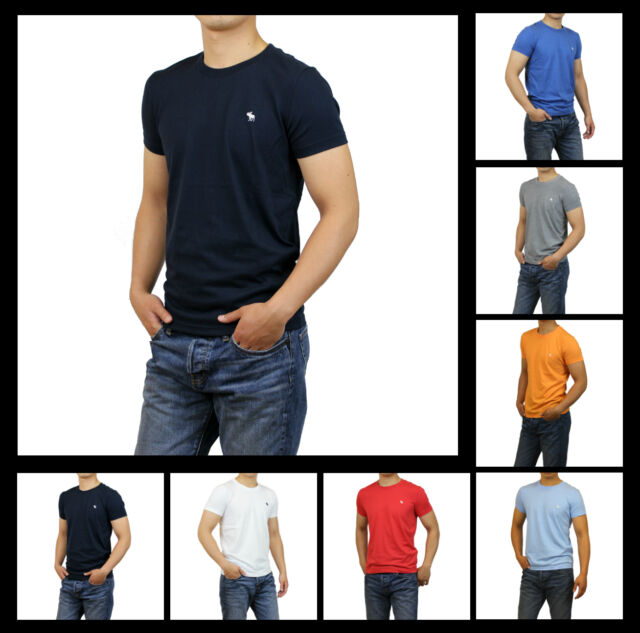 New Abercrombie A&F by Hollister Men Muscle Fit Essential Crew Neck T-Shirt Size