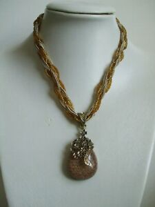 New-Brown-Rhinestones-Pendants-Beads-Braid-Necklaces-Party-Gifts