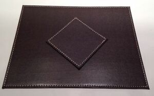 Image Is Loading Chocolate Stitch Faux Leather Table Mats Placemats Amp