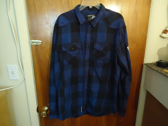 Mens Ecko Unltd.+ Size XXL Blue / Black Check Long Sleeve Dress / Casual Shirt