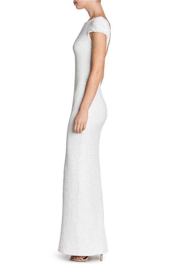 DRESS THE POPULATION POPULATION POPULATION 'TERESA' BODY -CON WHITE GOWN DRESS sz  M 2fd157