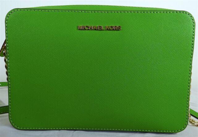 d152c2bb034e Michael Michael Kors Jet Set Travel Large EW Jungle Green Leather Crossbody  Bag
