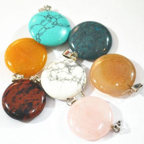 Wholesale Fashion Natural Round Gemstone Stone Silver P Perles Pendentif 50pcs//lot