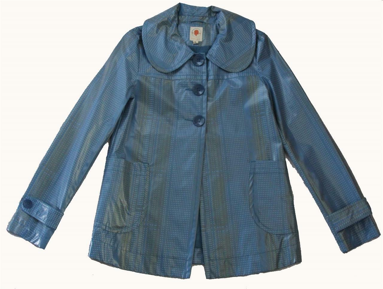 TULLE Anthropologie bluee Lined Polka Dots Swing Nylon PU Raincoat NEW Wms L