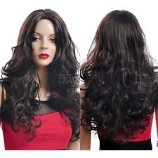 Lady Girls Dark Brown Curly Hair Long Wig Cosplay Party Wavy Wig Part Bang Style