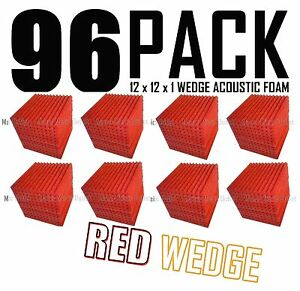 96-Pc-RED-Acoustic-Wedge-Studio-Soundproofing-Foam-Wall-Tiles-12x12x1-inch