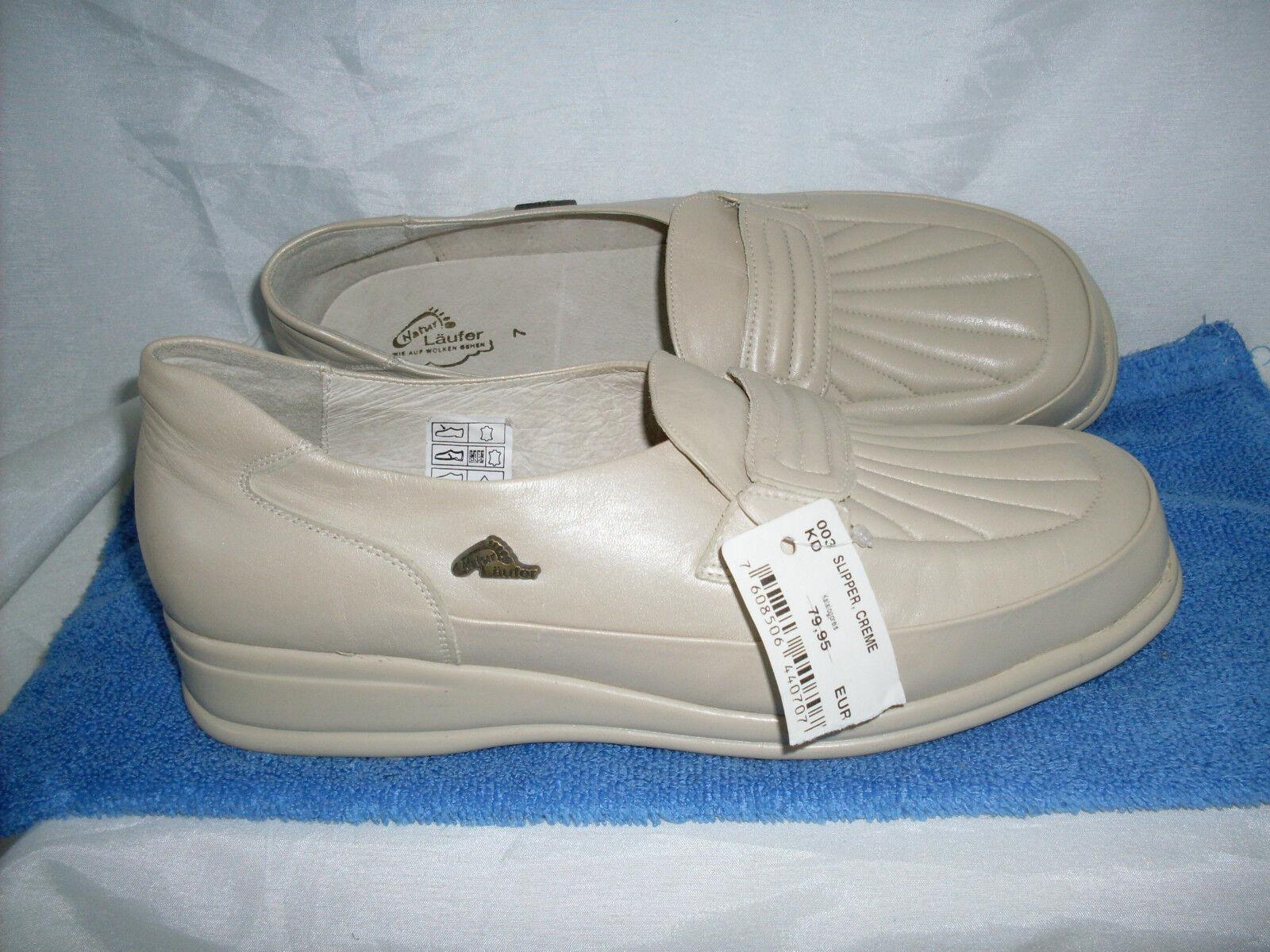 Scarpa da Donna Naturale-ALFIERE Slipper mezza scarpa NUOVO TG. 7 41 in Crema & Nappa