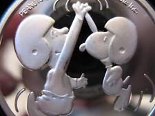 1-OZ.999 SILVER PEANUTS GANG CHARLIE BROWN SNOOPY HI FIVE FOOTBALL COIN+GOLD