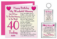 40th Mummy Happy Birthday Gift Set - Card, Keyring & Magnet - 40 Today Lots Love