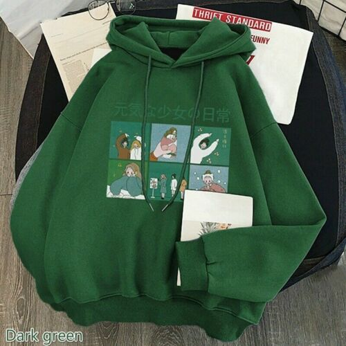 Women Cute Hoodie Pullover Fleece Lined Japanese Kawaii Sweatshirt Winter