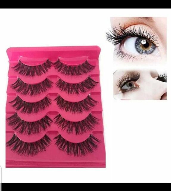 Fake Eye Lashes 5 Pairs 3D Natural False Mink Eyelashes Long Thick Mixed Makeup