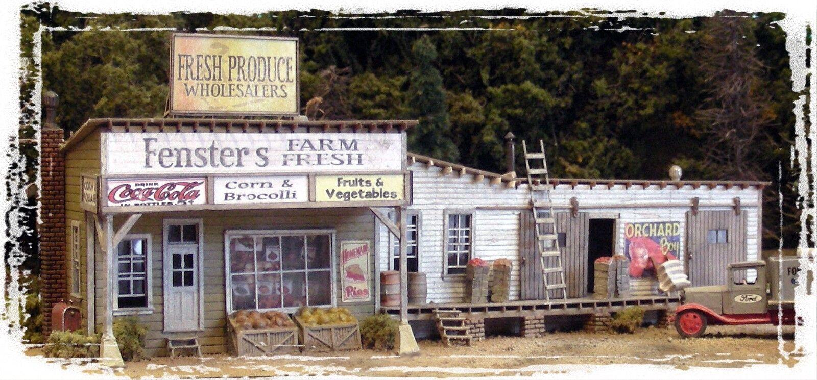 BAR MILLS BUILDINGS BUILDINGS BUILDINGS 142 HO Fenster's Farm Fresh Fruits Model Railroading Kit de1465