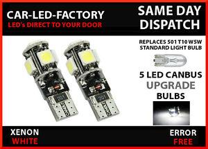 2Ps White LED Side Light Beam 9SMDs W5W 501 Bulbs Canbus For Renault Megane MK2