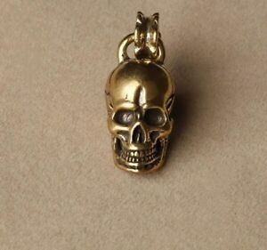 Chinese-Collection-old-Asian-Antiques-Pure-brass-skull-small-pendant-B2