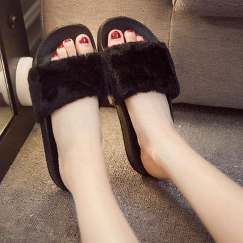 Women Lady Slipper Slip On Sliders Fluffy Fur Slippers Flip Flop Sandal Fashion