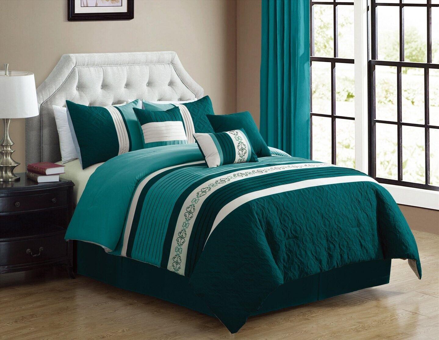 Teal Blau, Weiß  ADYA  Pin Tuck Embroiderot King Größe Comforter Set Bedding