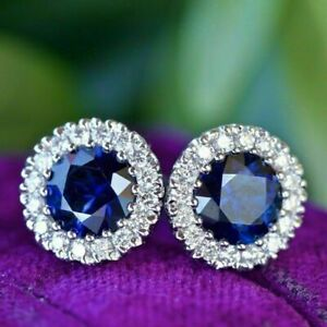 3-00-Ct-Round-Sapphire-and-Diamond-Womens-Halo-Stud-Earrings-14K-White-Gold-Over