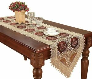 Vintage Gold Burgundy Lace Table Runner And Dresser Scarves Embroidered Fl 1