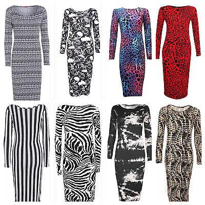 Ladies Leopard Print Long Sleeve Stretch Bodycon Women Midi Dress PLUS SIZE 8-26