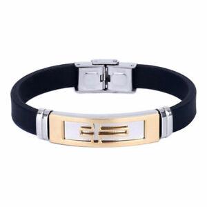 Herren-Schmuck-Armband-Silikon-Manschetten-Armband-Kreuz-Edelstahl-Armband