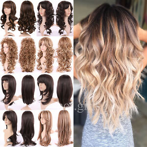 Black Brown Blonde Red Ombre Wig Long Curly Straight Wavy Full Head