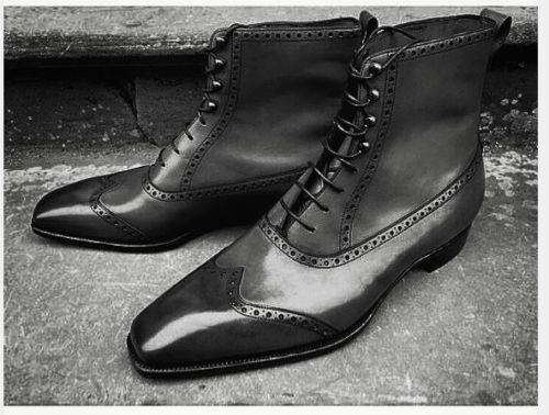 MENS HANDMADE FASHION BLACK COLOR ANKLE WINGTIP LEATHER LACE UP Schuhe
