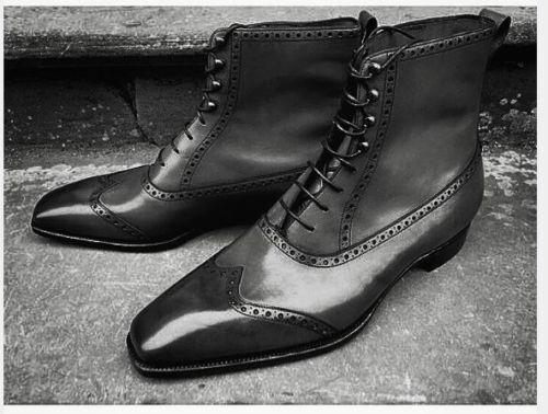 Herren HANDMADE FASHION BLACK BLACK FASHION COLOR ANKLE WINGTIP LEATHER LACE UP Schuhe 933f2e