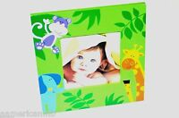 Baby Wood Photo Frame 6.5x6.5 Green Jungle Giraffe Monkey Table Top/hang Picture