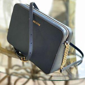 Michael Kors Medium Large Navy Blue Gold Leather Shoulder Tote Bag Handbag Purse 192317759396 | eBay