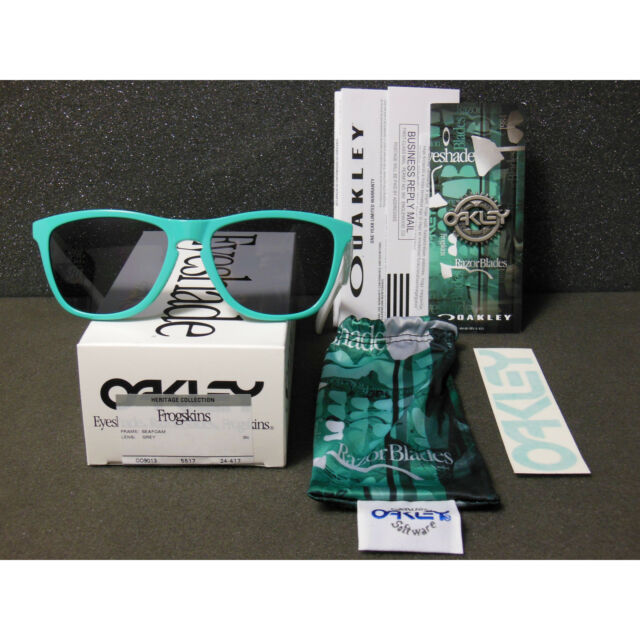 bc283b133d715 New Oakley Frogskins Sunglasses Seafoam Grey Retro Heritage Collection White