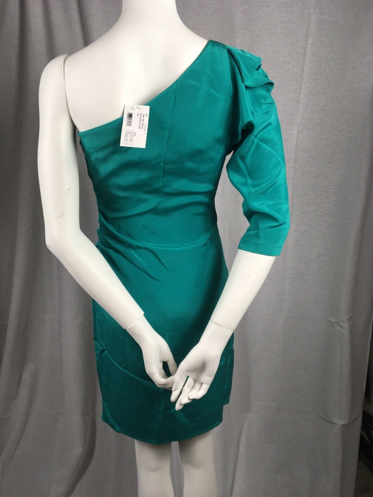 DIANE VON FURSTENBERG Cobb Dress Turquoise    Silk Ruffle One Sleeve sz 6  425 590fd9