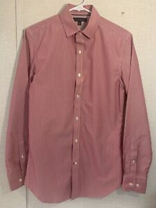 Banana-Republic-Slim-Fit-Boutonne-Rouge-Blanc-a-Rayures-Chemise-a-manches-longues-taille-S