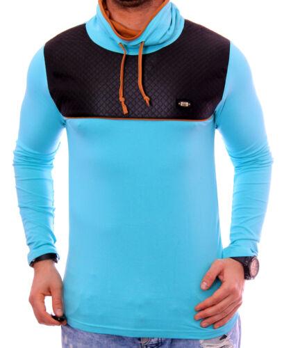 Uomo Manica Lunga Shirt Pullover Maglione V-Neck Felpa Hoodie TAGLIO LUNGO NUOVO