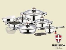 SWISS INOX 18 Pc Stainless Steel Cookware Set Fry Pots Pans Saucepan Casserole