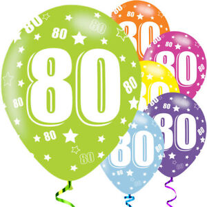 "6 X 80th Birthday Various Colours Mix 11"" Latex Balloons Party Age 67424"