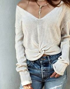 People Twisted Free Me Nwt Sweater Size L Got Nuovo Large Ivory Top fqqtRda