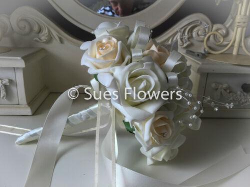 Mariage fleurs demoiselle d/'honneur bouquet en champagne et ivoire
