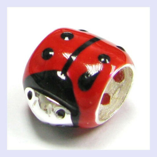 Sterling Silver émail rouge coccinelle Tube Rond Bead for European Charm Bracelet