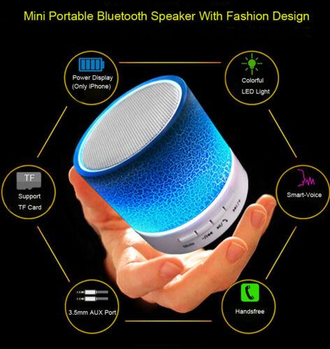LED Portable Mini Bluetooth Speaker Wireless Bass Speaker W//TF USB FM Radio lot