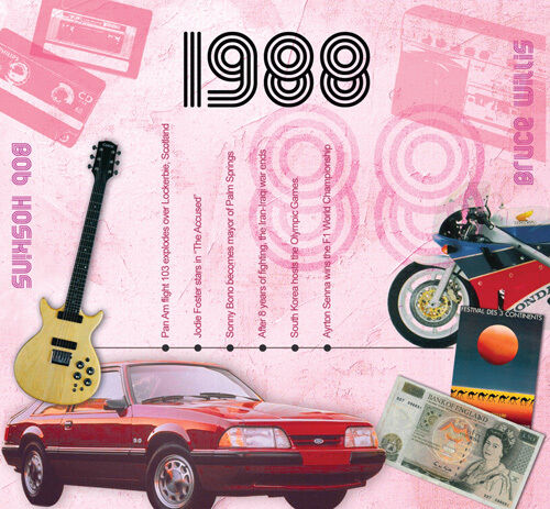 30th BIRTHDAY OR ANNIVERSARY GIFT - 1988 Pop Music CD and Year Greeting Card