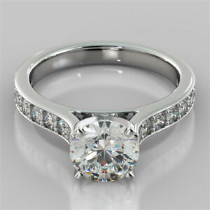 2.32 Ct Round Genuine Moissanite Engagement Ring 14K Solid White Gold Size 8.5