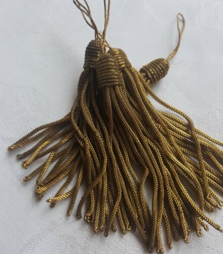 Vintage Gold Metallic Tassels Honey Comb Tops Long Bullion Strands French